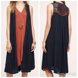 Anthro Saturday Sunday Navy Macrame Duster | L